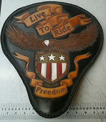 Tooled leather solo motorcycle seat