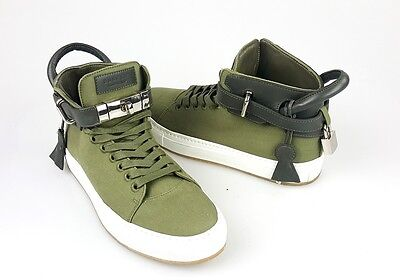 Buscemi Olive Canvas Lace Up Buckle Front High Top Sneakers Flats Shoes 40 10