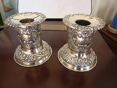 Sterling 800 silver antique candle holder repousse