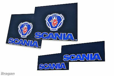 4 Piece UV Rubber Scania Truck Front and Rear Mudflap Mud Flaps Set Blue