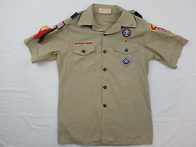 BOY SCOUTS BSA Used VINTAGE Uniform Shirt Patches Youth Size Large Womens Small