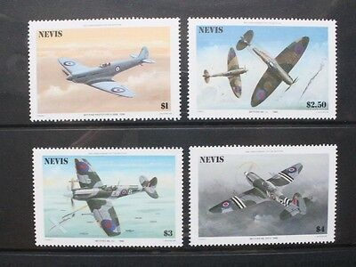 NEVIS 1986 Aircraft Spitfire 50th Anniversary Set of 4 Mint Never Hinged SG372/5