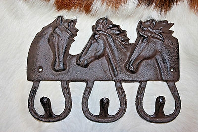 (12),LG,3 HOOK, HORSES,western decor, ranch decor,country,WALL HOOK,GARDEN,W-42