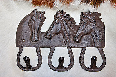 (1),LG,3 HOOK, HORSES,western decor, ranch decor,country,WALL HOOK,GARDEN,W-42