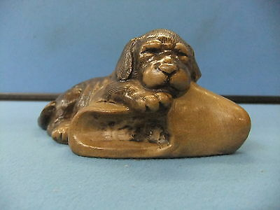 Adorable Poole Pottery Stoneware Puppy With Slipper Figurine