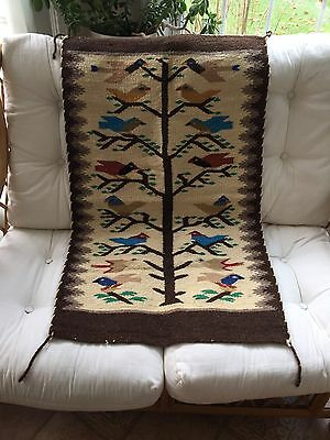 Zapotec Native Mexican American Wool Woven Tree Of Life - 16 Birds Rug