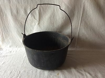 Vintage Small Cast Iron Pot with Handle # 4 Marked on Bottom