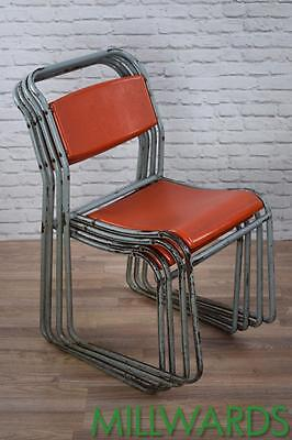 Set of 4 Industrial Retro Stackable Cafe Bar Chairs