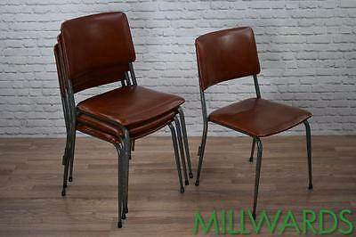 Set of 4 Vintage Industrial Retro Stackable Cafe Bar Kitching Dining Chairs