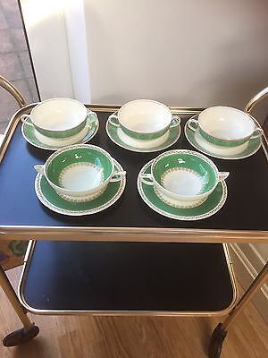 Vintage J&G MEAKIN Soup Bowls and Saucers - 10 Piece Mixed Set