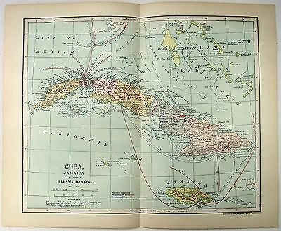 Original 1898 Map of Cuba, Jamaica & the Bahama Islands by Dodd Mead & Company