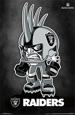 RARE Oakland Raiders NFL RUSH ZONE Official Character POSTER - (Rusher PILLAGE!)