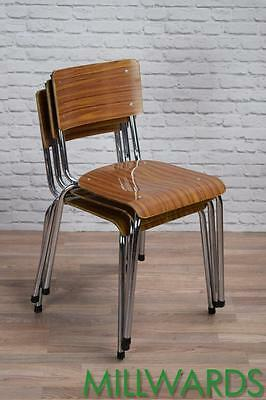 Set Of 4 Vintage Industrial Retro Stacking School Cafe Bar Kitchen Dining Chairs