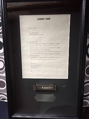 1969 Johnny Cash Show Stage Used Harmonica Framed
