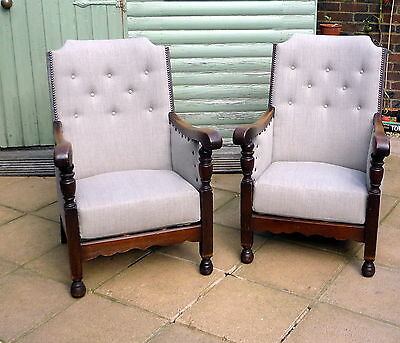 Pair 2 Vintage Mid 20th Century newly upholstered arm chairs grey linen oak 1950