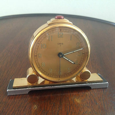 Art Deco Oris Gold Plated Jewel Alarm Clock Working Movement
