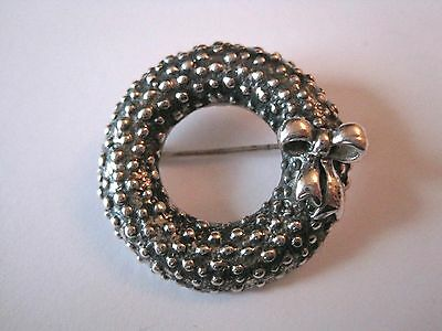Solid 925 Sterling Silver Wreath Brooch/Pin with Bow. Beautiful.