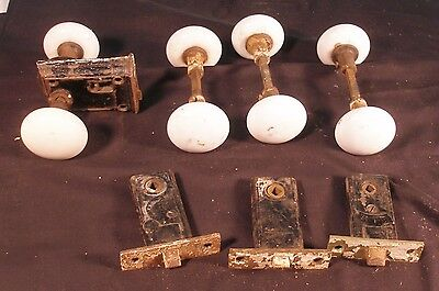 Lot Of 4 Victorian Era Porcelain Door Knob Sets With Latches Or Lock Sets