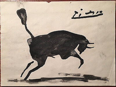 Picasso Original Watercolour Hand Signed Leaping Bull
