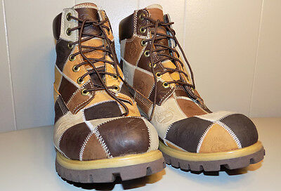 rare Timberland Waterproof leather patchwork boots men's us size 12 very nice