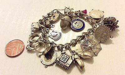 Superb Quality Ladies Substantial Heavy Vintage Solid Silver Charm Bracelet Nice