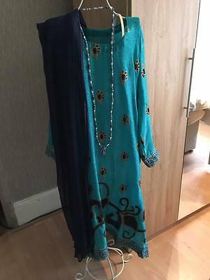 Blue/turquoise indian dress - large size
