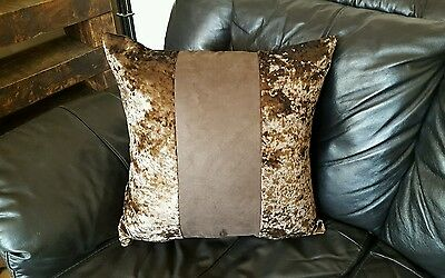 """4 22"""" Trendy New Crushed Velvet 3 Panel cushion covers in brown."""