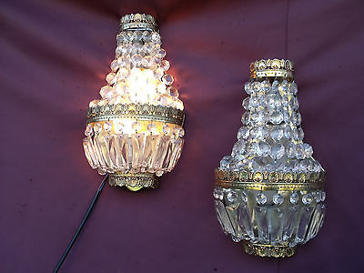 @ Lovely Pair French Vintage Wall Lights Sconces With Nice Glass Crystals !