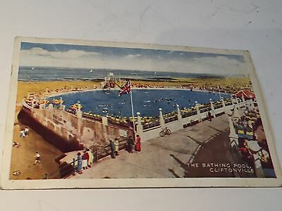 Kent Vintage Post Card The Bathing Pool Cliftonville A.h&s Pargon Series Margate