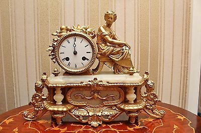 Antique French gilt figural clock alabaster spelter S Marti mechanism