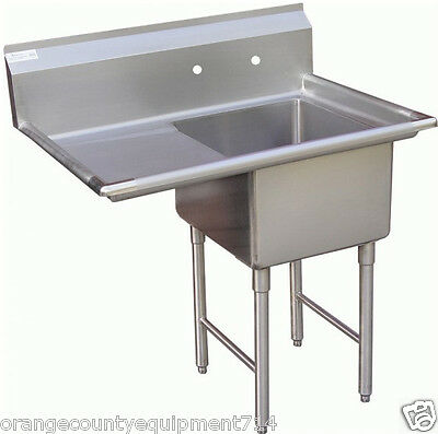 NEW 1 Compartment Food Prep Sink Left Drain Board NSF #1004 Drain Commercial