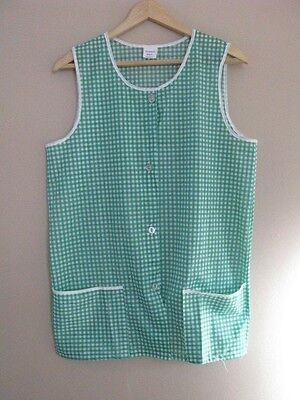 Ladies Housework  Poly Nylon Overall Housecoat Apron Pinny Green