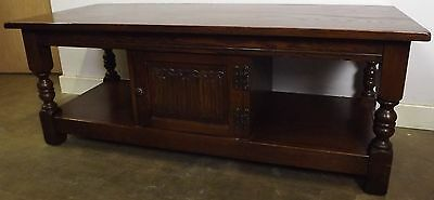 Lovely Old Charm Solid Oak Coffee Table With Linen Fold Decoration Antique Style