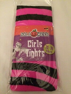 Pair Of Girls Pink & Black Striped Tights Age 11-14