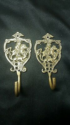 Antique Ornate Pair Hooks~Curtain Tie Backs Knight On Horse