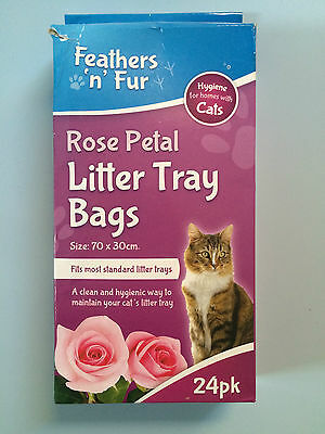Feathers 'n' Fur Rose Petal Scented Cat Litter Tray Bags 24 Pack 70 x 30 cm