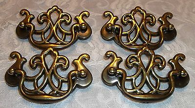 ANTIQUE FINISH Brass Drawer/ Cabinet Pull Handles, Set of 4