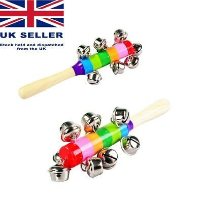 Rainbow Musical Instrument Wooden Hand Jingle Ring Bell Rattle Baby UK Seller