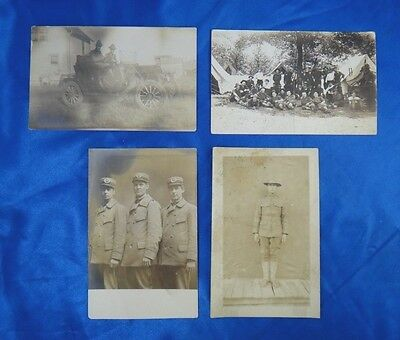 Antique WWI WW1 RPPC Real Photo BW Lot of 4 US Military 74th Infantry 12 Div.