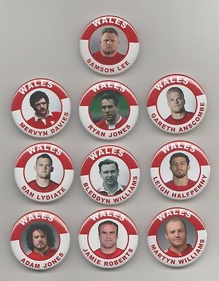 Wales Rugby Union  Players  Badges  X10  Set 3