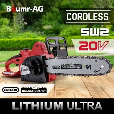 "Baumr-AG 20V 10"" Cordless Chainsaw Lithium-Ion Electric Pruner Oregon Garden"