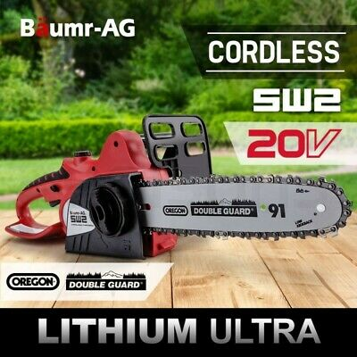 "Baumr-AG 20V Cordless Chainsaw Lithium-Ion Electric Pruner 10"" Oregon Garden"