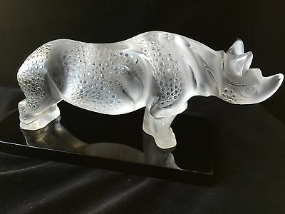 Lalique Crystal Toba Rhino with Black Base Perfect Condition