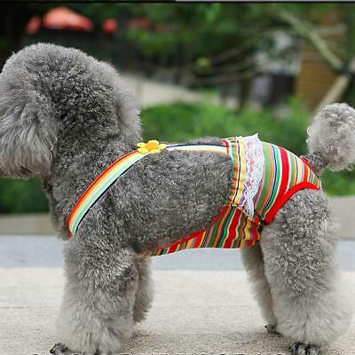 Female Dog Colorful Striped Clothes Suspender Sanitary Diaper Briefs Size XXS-XL