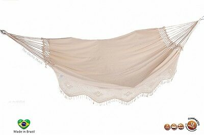 Double Deluxe Hammock w/ Crochet Fringe Raw Natural Colour made in Bazil Relax