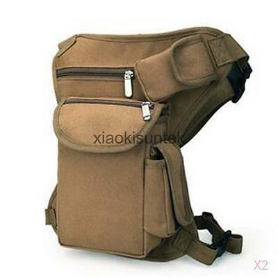 2x Unisex Tactical Drop Leg Bag Pouch Fanny Pack for Camping Riding Fishing