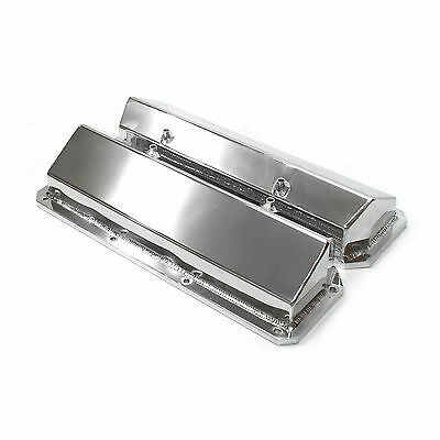 Ford 302 351C Cleveland Satin Fabricated Valve Covers - Tall w/o Hole