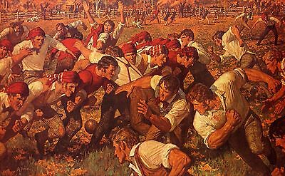 "Rutgers Vs Princeton ""the First Game"" 13 X 19 Print On Textured Canvas"