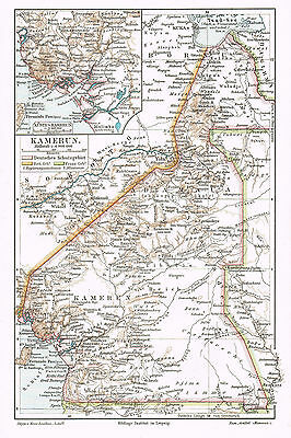 Kamerun Landkarte 1897 - Deutsche Kolonie - Schutzgebiet - German colony map