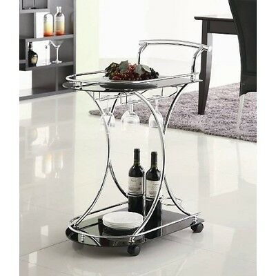 Serving Cart Station W/2 Black Glass Shelve Mini Bar Drink Party Home Decor Gift